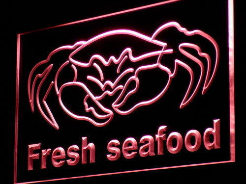 Fresh Seafood Crab Chinese Restaurant Light Sign