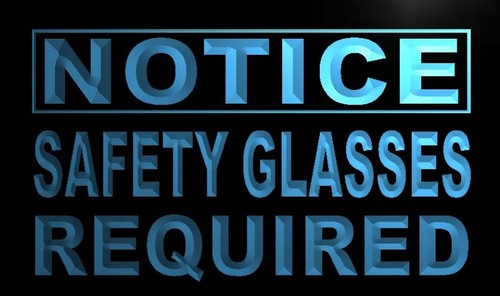 Notice Safety Glasses Required Neon Light Sign
