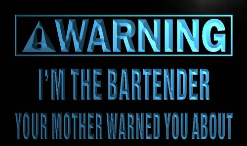 Warning I'm the Bartender Neon Light Sign