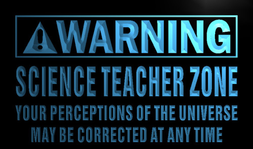 Warning Science Teacher Zone Neon Light Sign